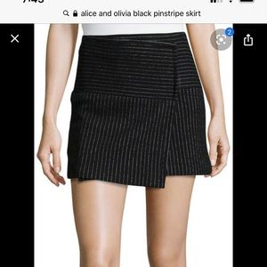 Alice and Olivia black and white pinstripe skirt 6